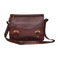Mozri 100% Genuine Leather 15 inch Laptop Messenger Bag  (BROWN)