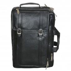Mozri 100% Genuine Leather 17 inch Expandable Laptop Messenger Bag (Black)