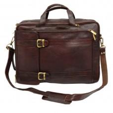 Mozri 100% Genuine Leather 17 inch Expandable Laptop Messenger Bag (Brown)