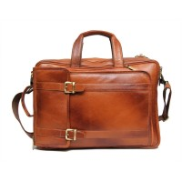 Mozri 100% Genuine Leather 17 inch Expandable Laptop Messenger Bag (Tan)