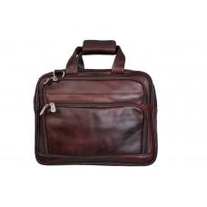 MOZRI 16 inch Expandable 100% Genuine Leather Laptop Messenger Bag  (Brown)