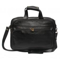 MOZRI 16 inch Expandable 100% Genuine Leather Laptop Messenger Bag  (Black)