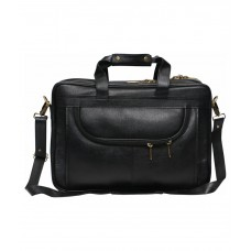 MOZRI 100% Genuine Leather 16 inch Expandable Laptop Messenger Bag  (Black)
