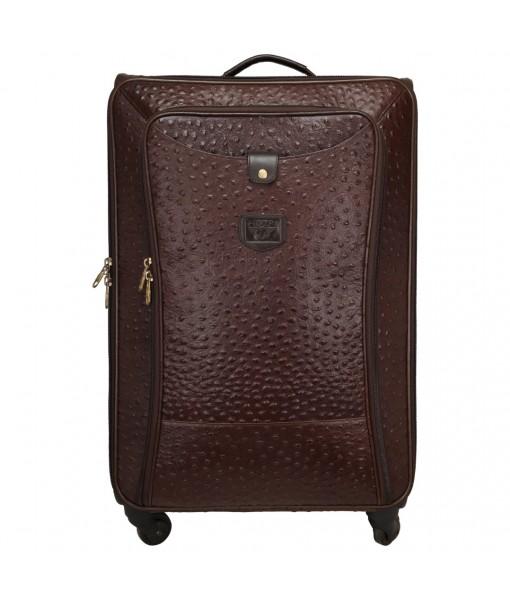 MOZRI Genuine Ostrich Print Leather , Cabin Luggage Trolley Bag