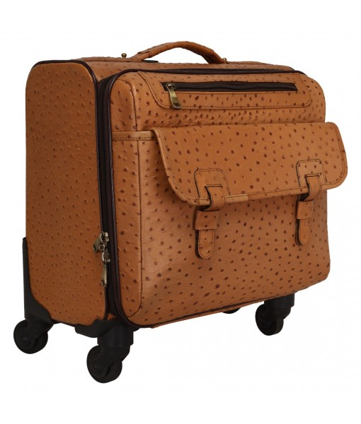 MOZRI Genuine Ostrich Print Leather The Rovello Cabin Size Capacity 42 Litre's Suitcases & Trolley Bags Luggage for Travel ( L-43 X W-22 X H-35 Cm's) (Tan)