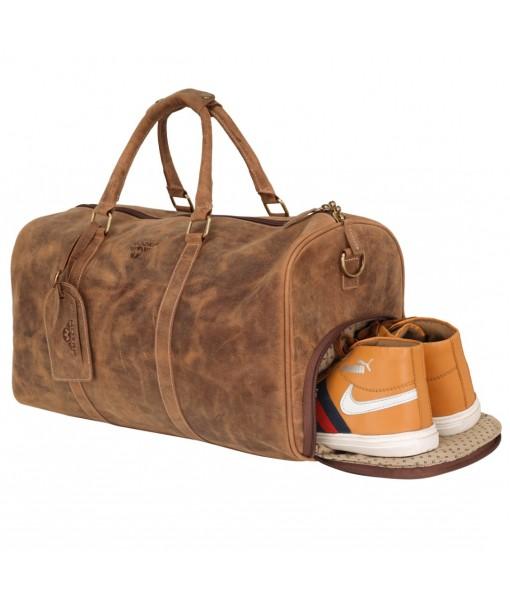 MOZRI Genuine Vintage Leather Travel Luggage Bag, Mens Duffle Retro Carry on Handbag (Shoes Compartment)
