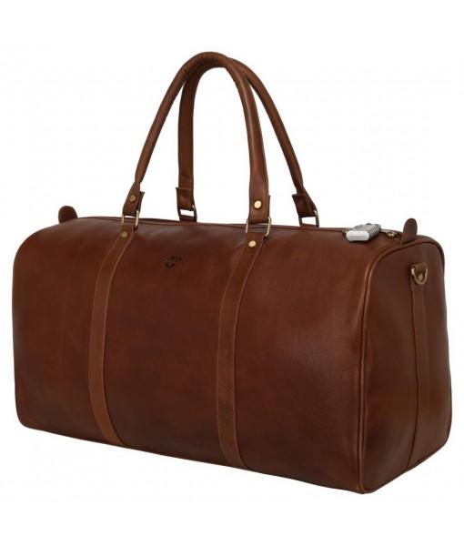MOZRI Genuine Vintage Leather Travel Luggage Bag, Mens Duffle Bag (Brown)