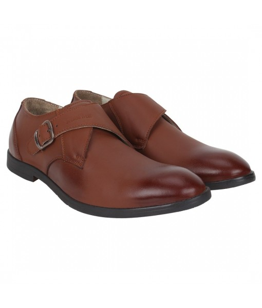 TAN BROWN SINGLE MONK LEATHER SHOES FOR MENS